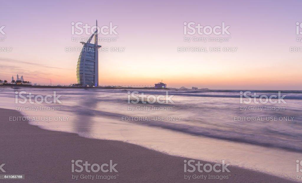 Dubai, UAE - Nov 29, 2016: Dubai seaside at sunset. stock photo