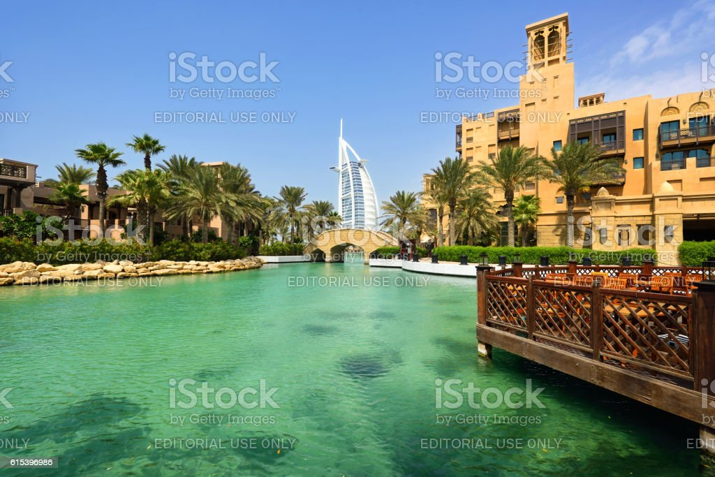Dubai Seaside Garden View stock photo