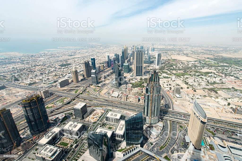 Dubai seen from helicopter stock photo