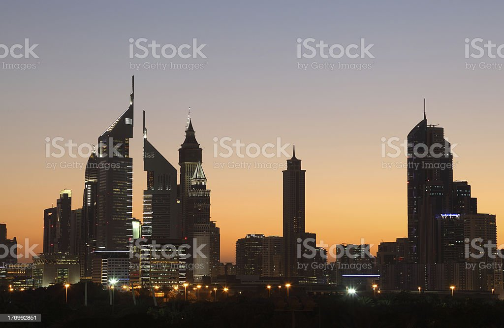 Dubai Sheikh Zayed Road at night stock photo