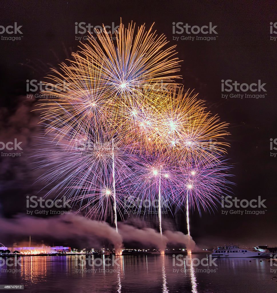 Dubai shopping festival fireworks stock photo