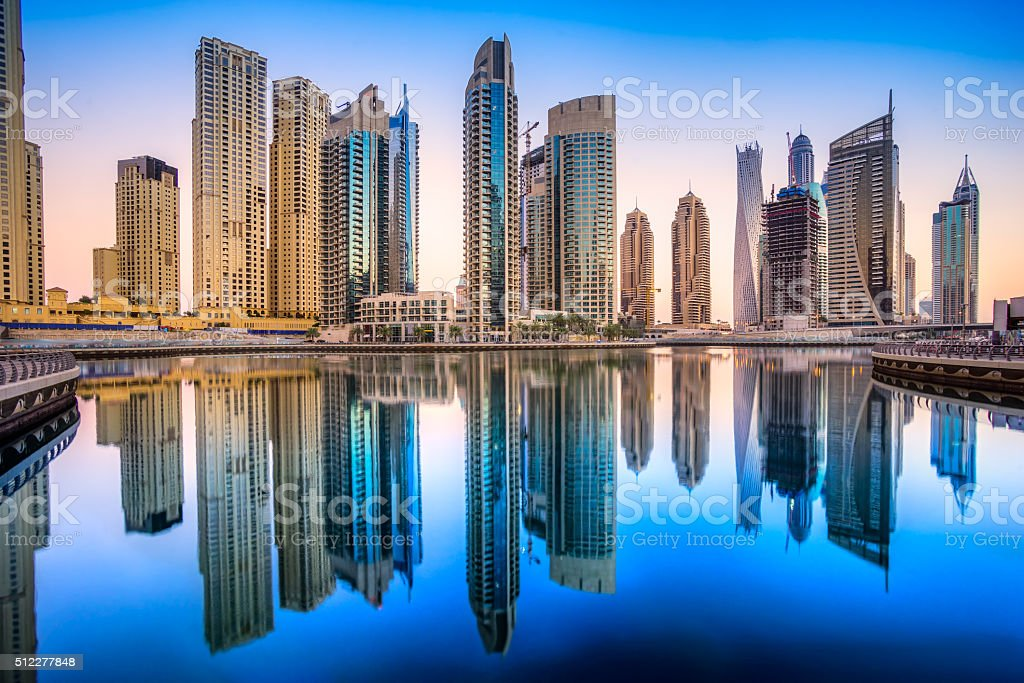 Dubai Skiline reflections at sunset, Dubai. stock photo