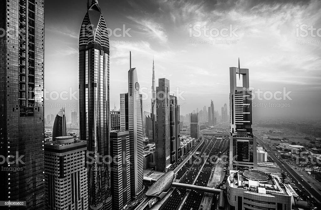 Dubai sky line with Burj Khalifa stock photo
