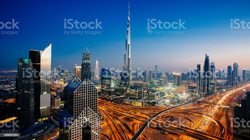 Dubai sky line with traffic junction and Burj Khalifa stock photo