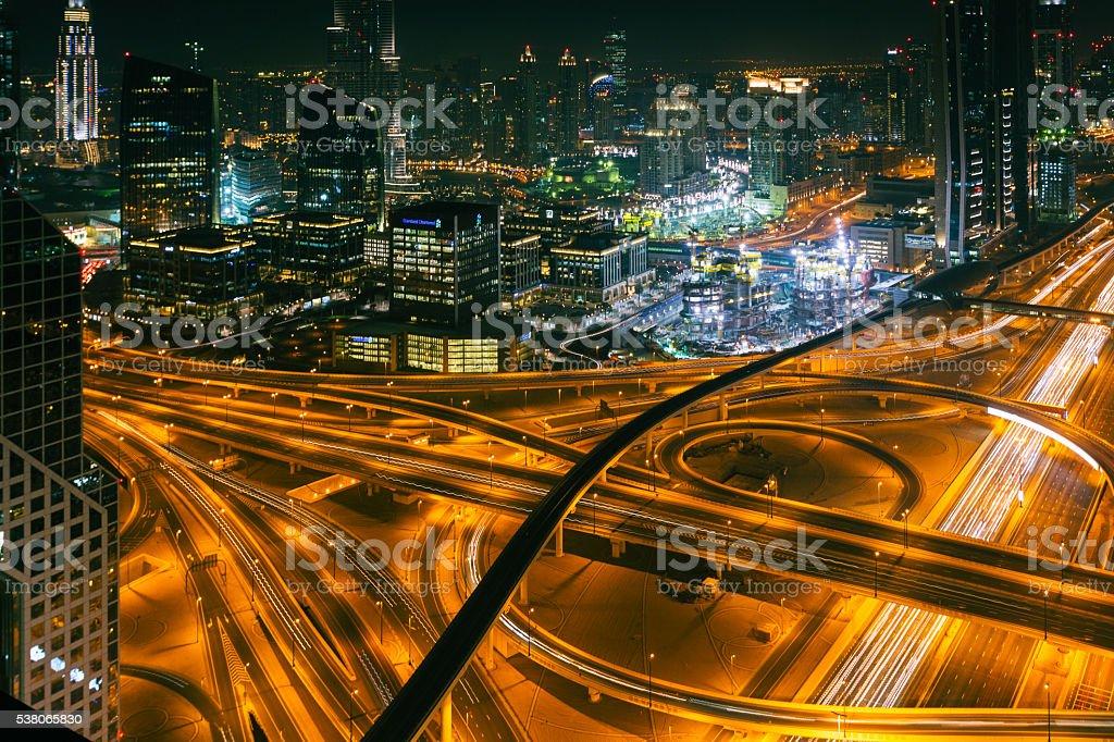 Dubai sky line with traffic junction. stock photo