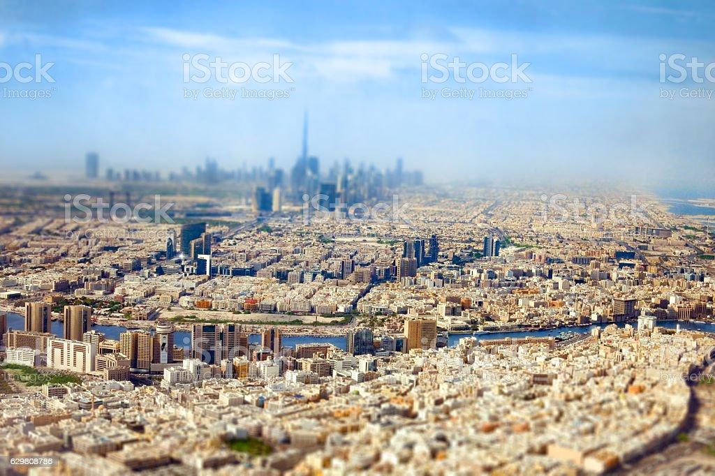 Dubai Skyline and Creek from above, Tilt-shift & Miniature stock photo