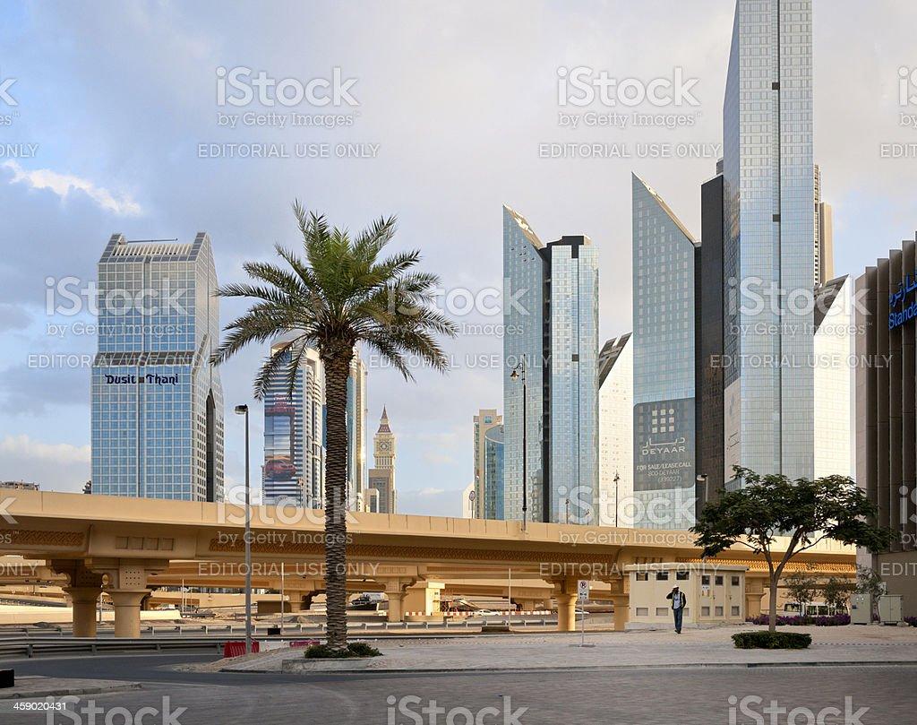 Dubai skyline and Dusit Thani Hotel royalty-free stock photo