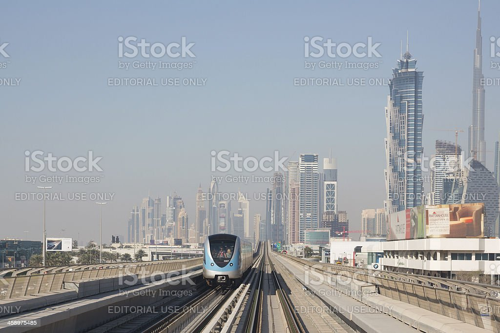 Dubai Skyline and Metro Train royalty-free stock photo