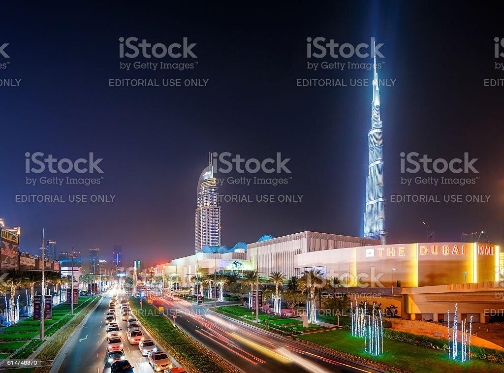 Dubai skyline and shop Dubai Mall, Dubai, United Arab Emirates stock photo