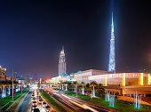 Dubai skyline and shop Dubai Mall, Dubai, United Arab Emirates