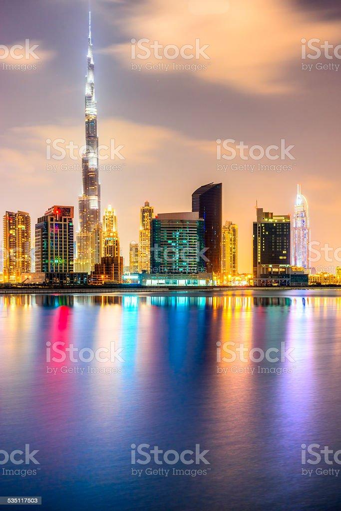Dubai skyline at dusk stock photo