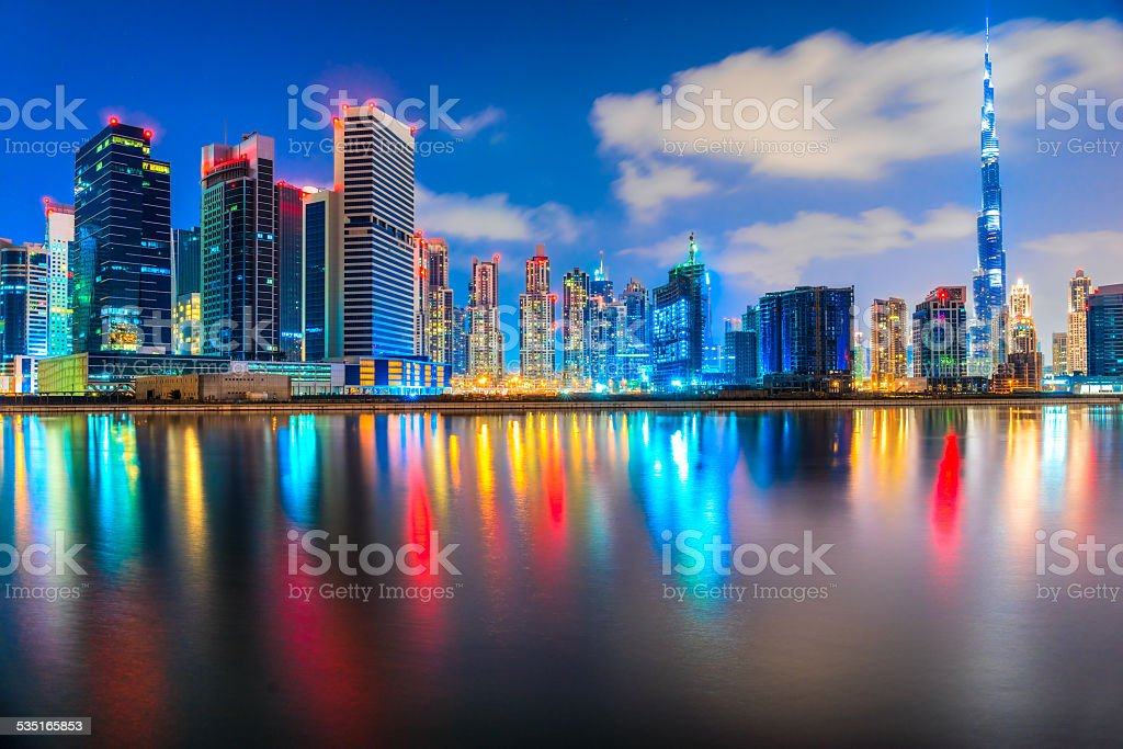 Dubai skyline at dusk stock photo