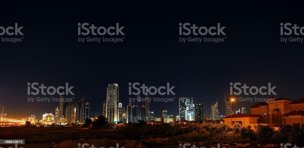 Dubai skyline at night. Dubai financial center, UAE stock photo