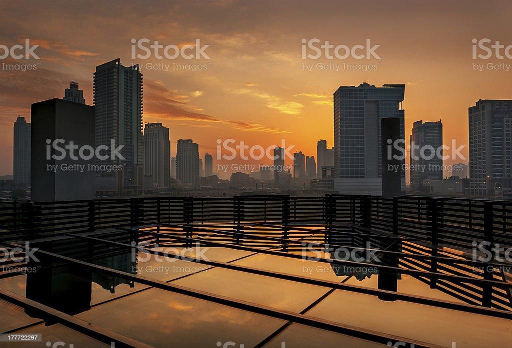 Dubai skyline at sunset royalty-free stock photo