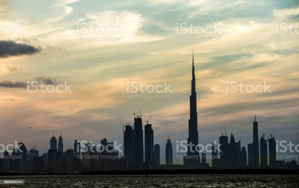 Dubai skyline at Sunset stock photo