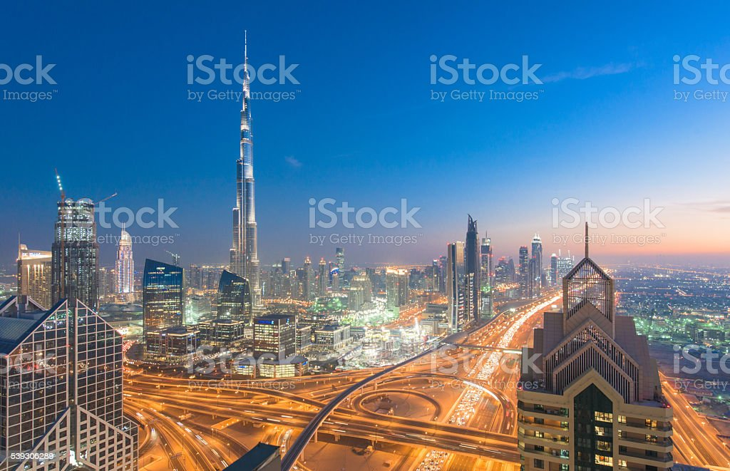 Dubai skyline down town district cityscape stock photo