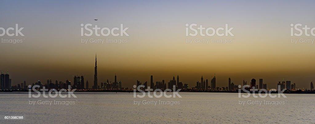 Dubai Skyline from Creek Harbour stock photo