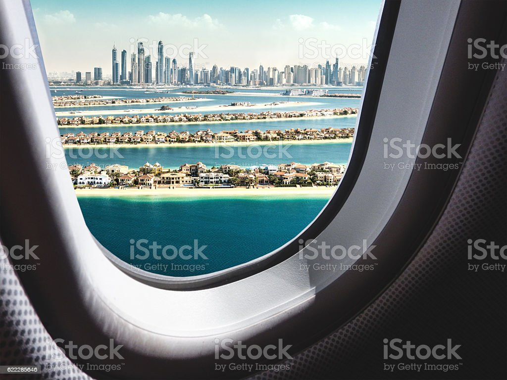 dubai skyline from the airplane stock photo
