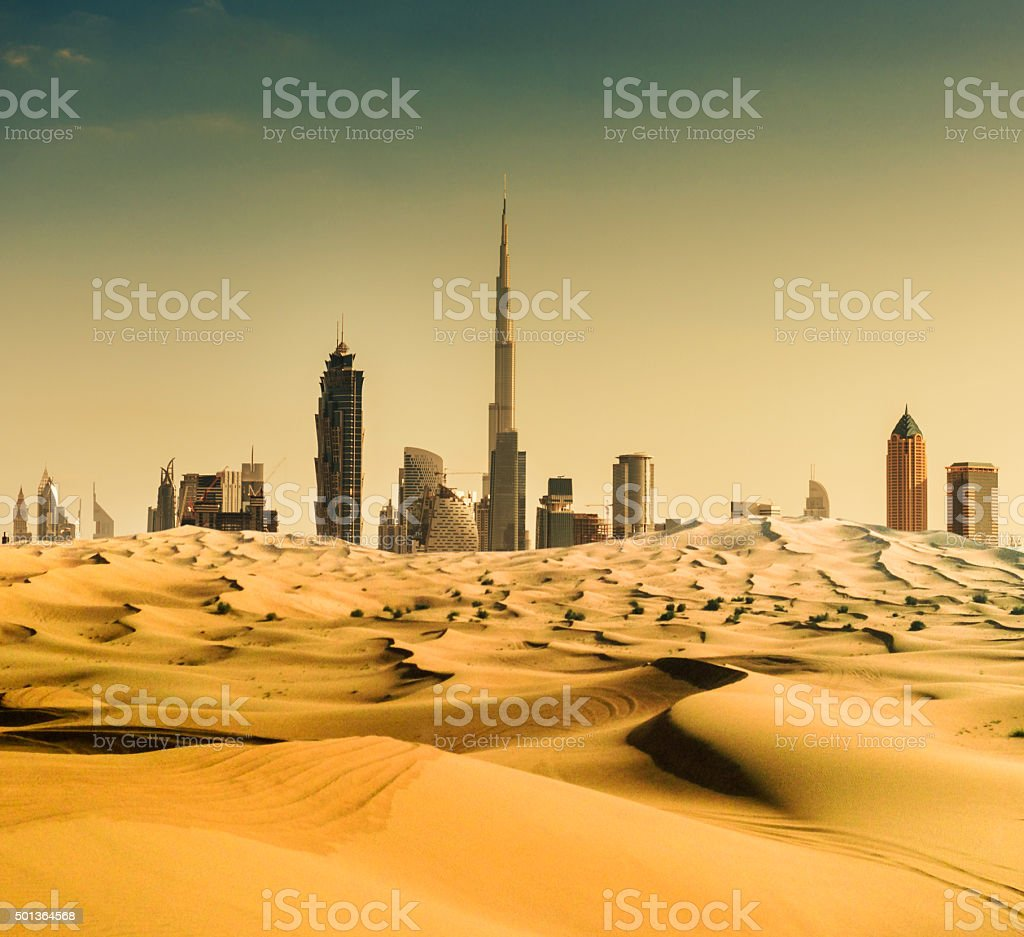 dubai skyline from the desert stock photo