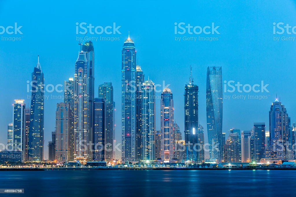 Dubai Skyline Illuminated at Dusk, Dubai Marina, United Arab Emirates stock photo