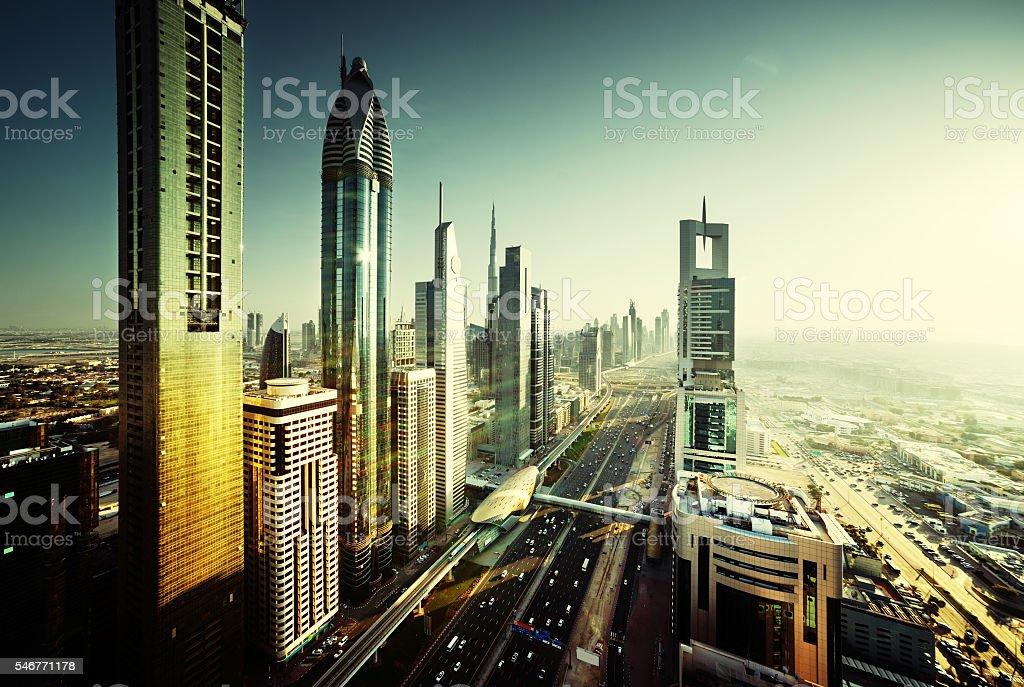 Dubai skyline in sunset time, United Arab Emirates stock photo