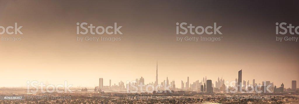 dubai skyline in uae stock photo