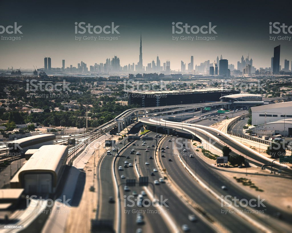 dubai skyline in uae with the highway stock photo