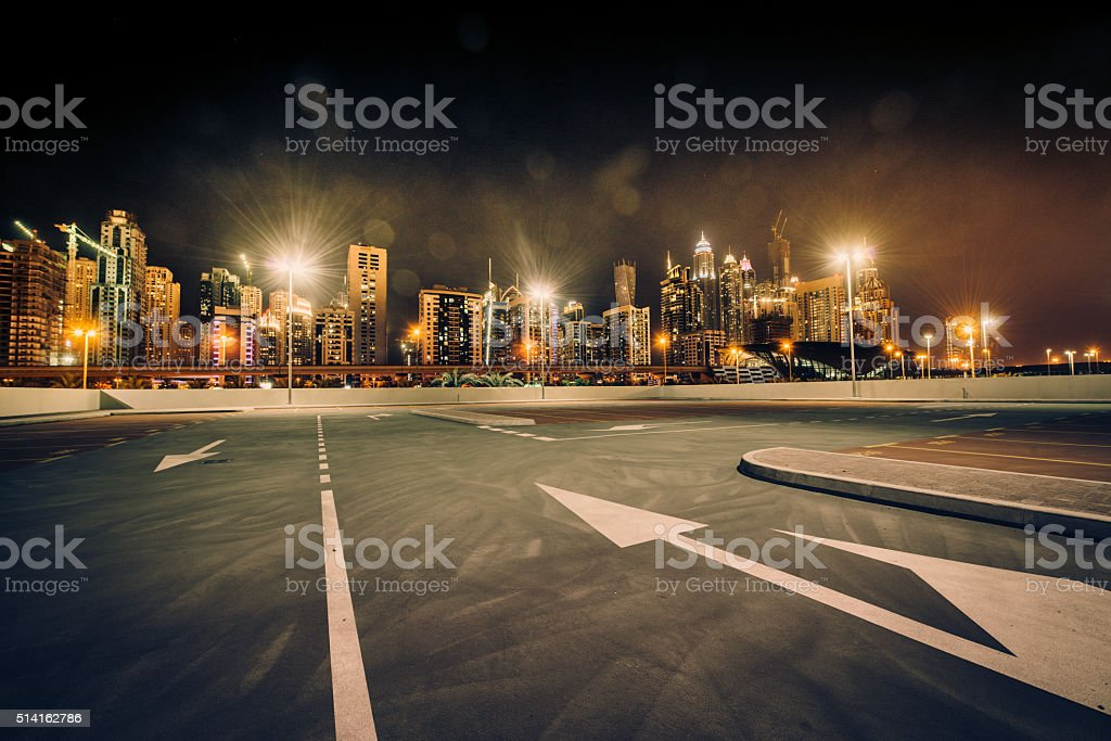 Dubai Skyline nightshot stock photo