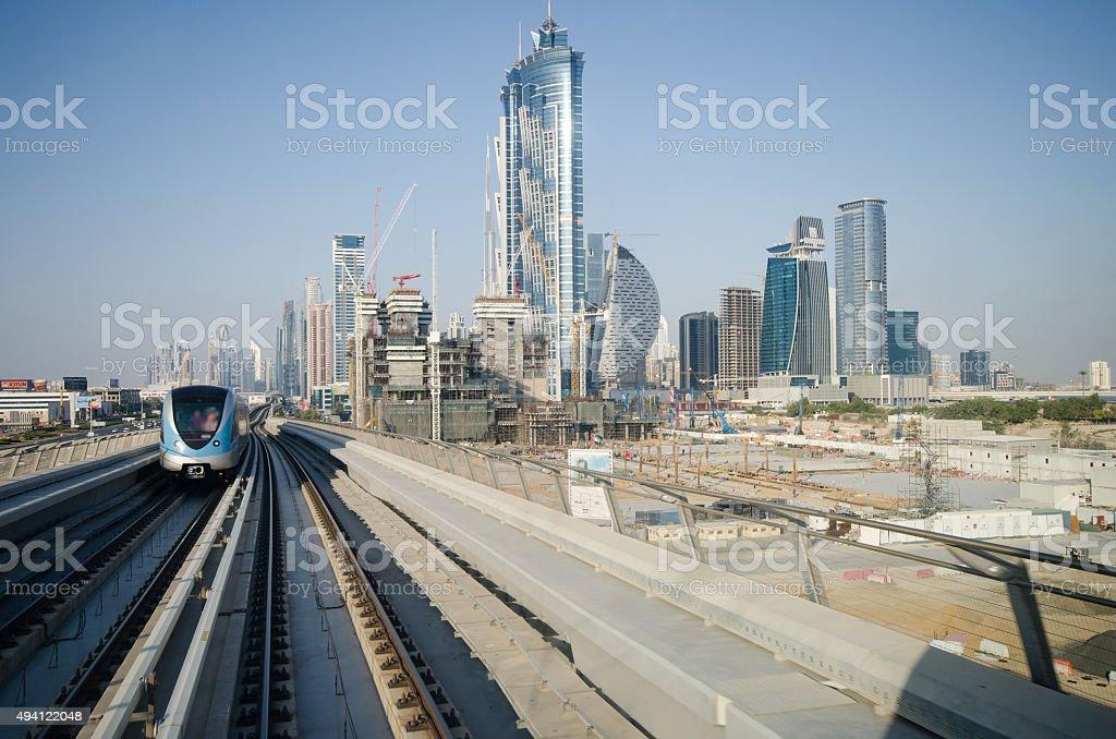 Dubai skyline out of a train stock photo