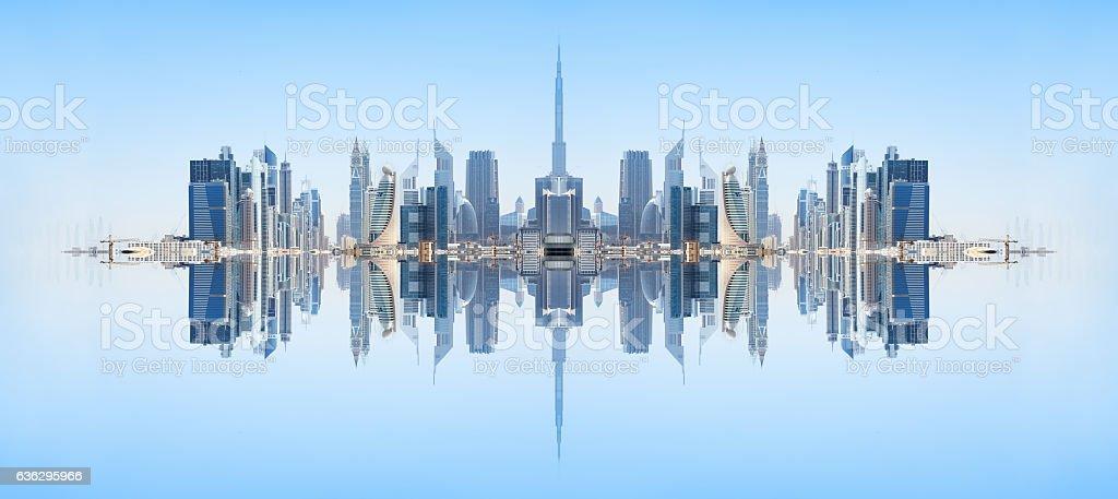 Dubai skyline reflected, kaleidoscopic stock photo