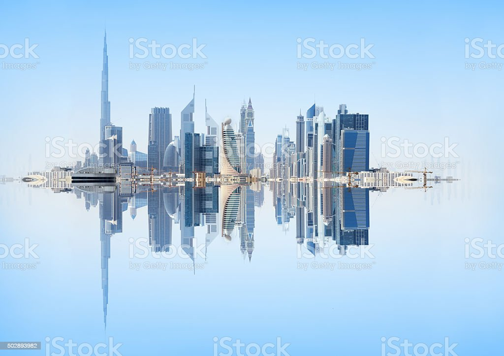 Dubai skyline reflected stock photo