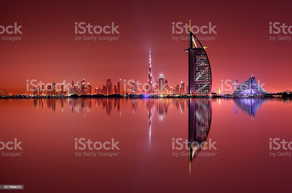 Dubai skyline reflection, Dubai, United Arab Emirates stock photo