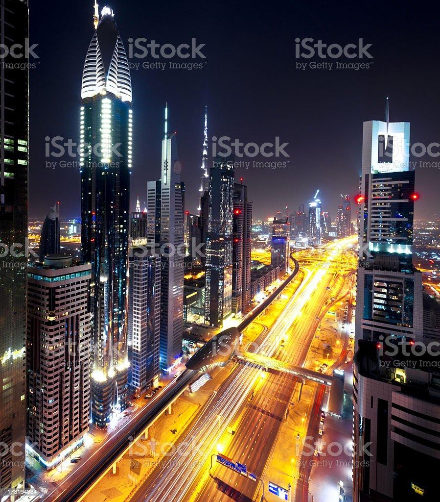 Dubai Skyline Sheik Zayed Road royalty-free stock photo