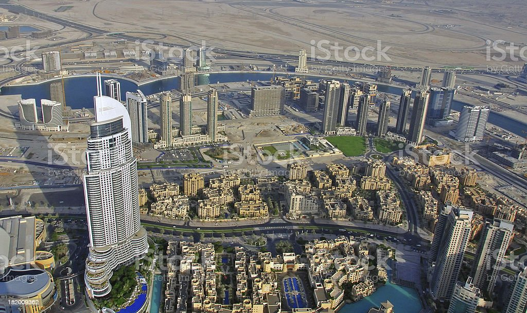 Dubai skyline top view royalty-free stock photo