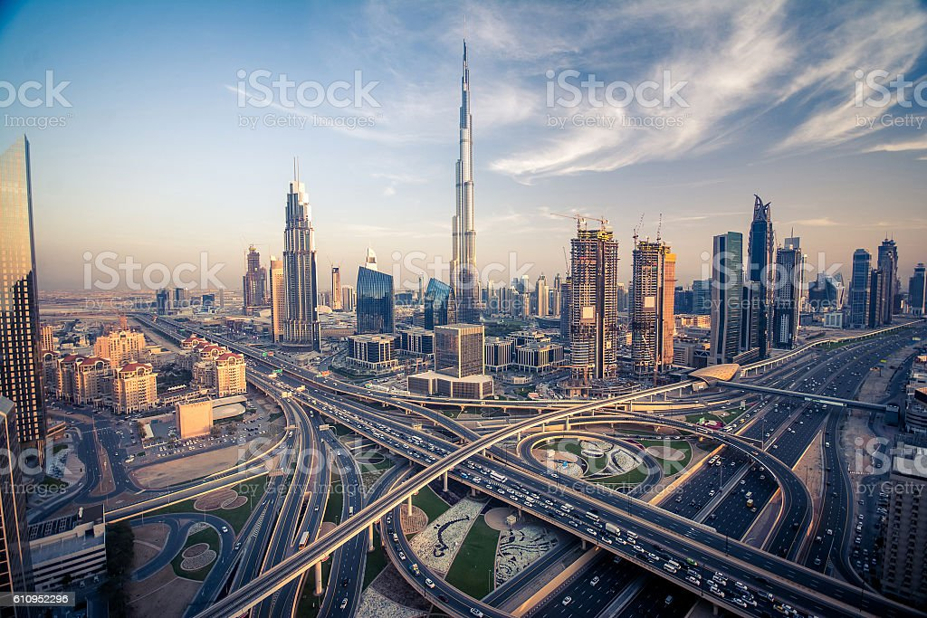 Dubai skyline with beautiful city background stock photo