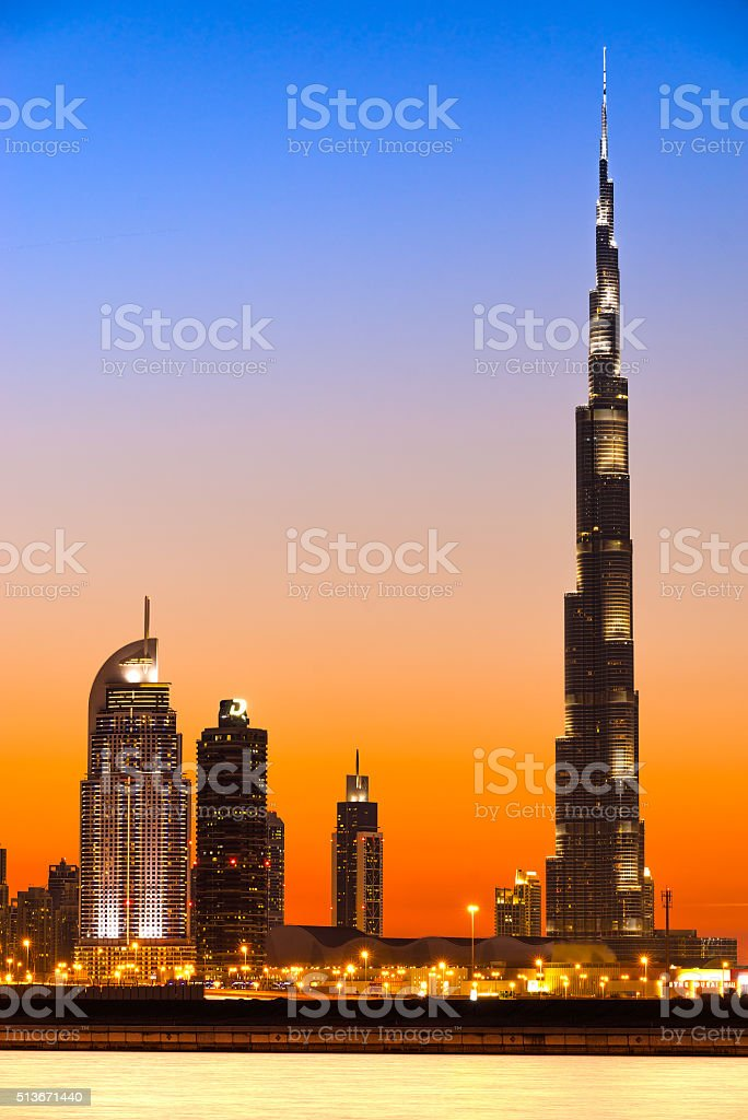 Dubai Skyline with Burj Khalifa at sunset, Dubai. stock photo