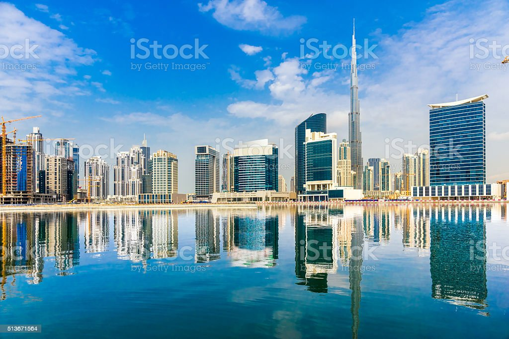 Dubai Skyline with Burj Khalifa, Dubai. stock photo