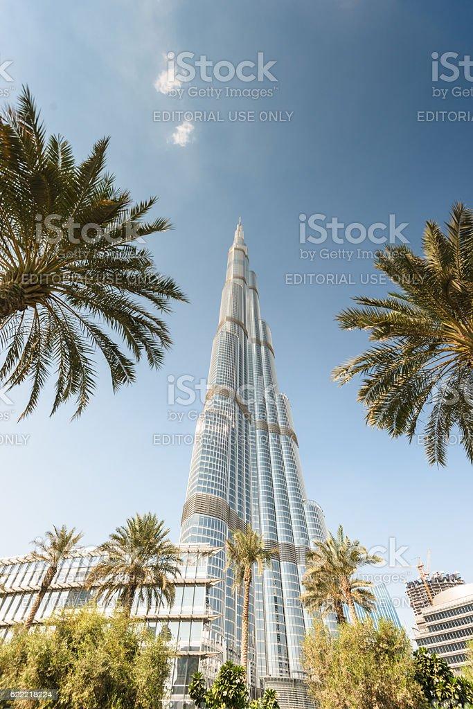 dubai skyline with burj khalifa from below stock photo