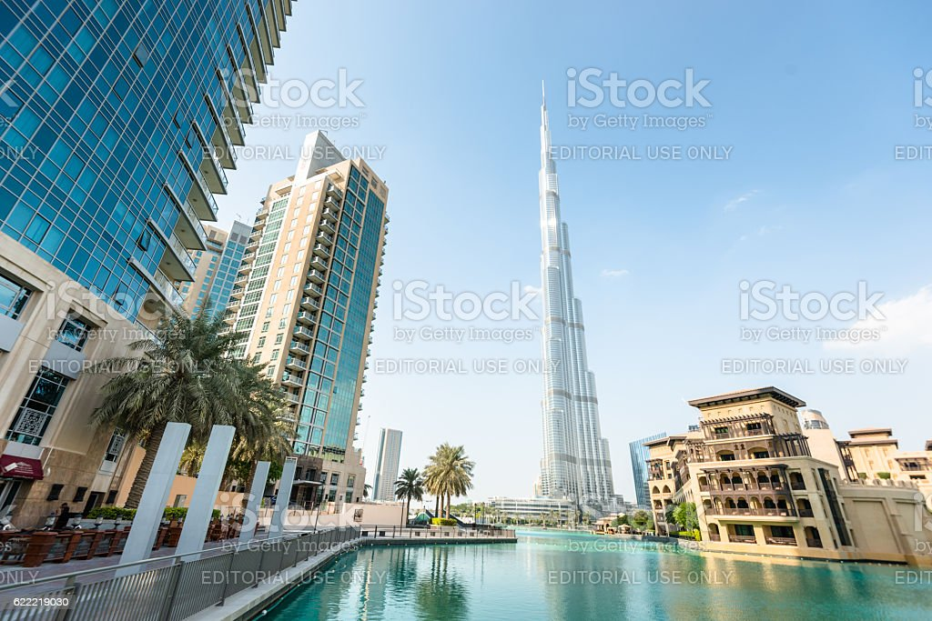 dubai skyline with burj khalifa stock photo