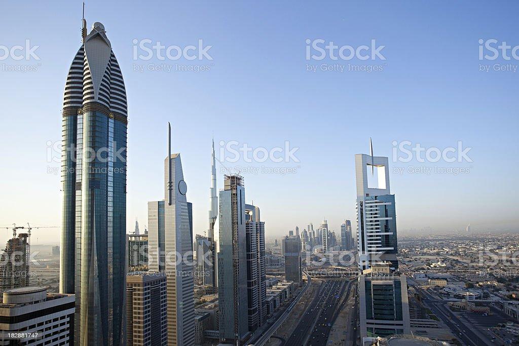 dubai skyline with busy road royalty-free stock photo