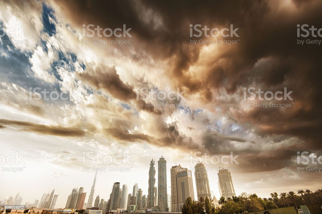 dubai skyline with downtown on the background stock photo