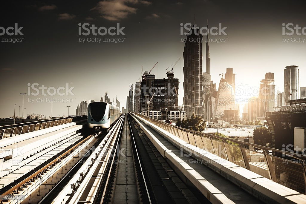 dubai skyline with downtown on the metro stock photo