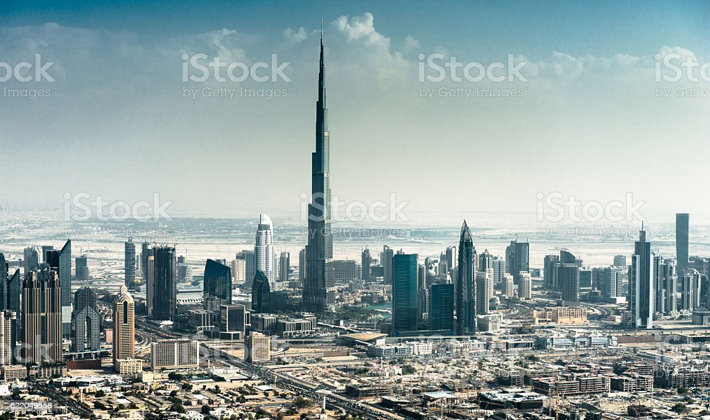 dubai skyline with downtown stock photo