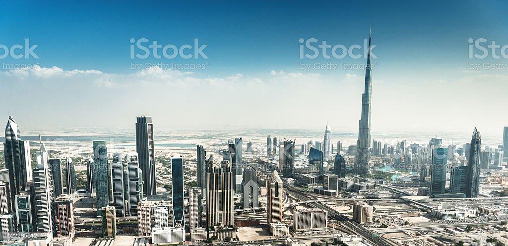 dubai skyline with downtown stock photo