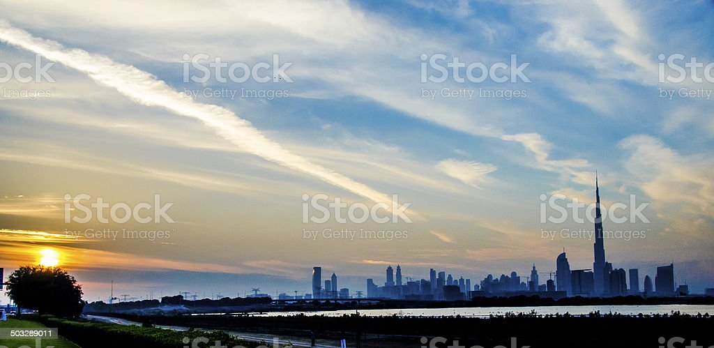 Dubai Skyline with sunset stock photo