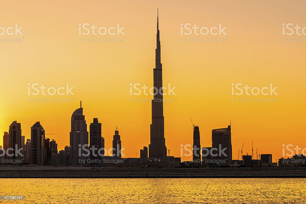 Dubai skyline with the Burj Khalifa. UAE. stock photo