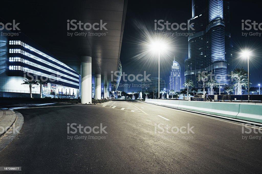 Dubai skyscrapers nightshot stock photo