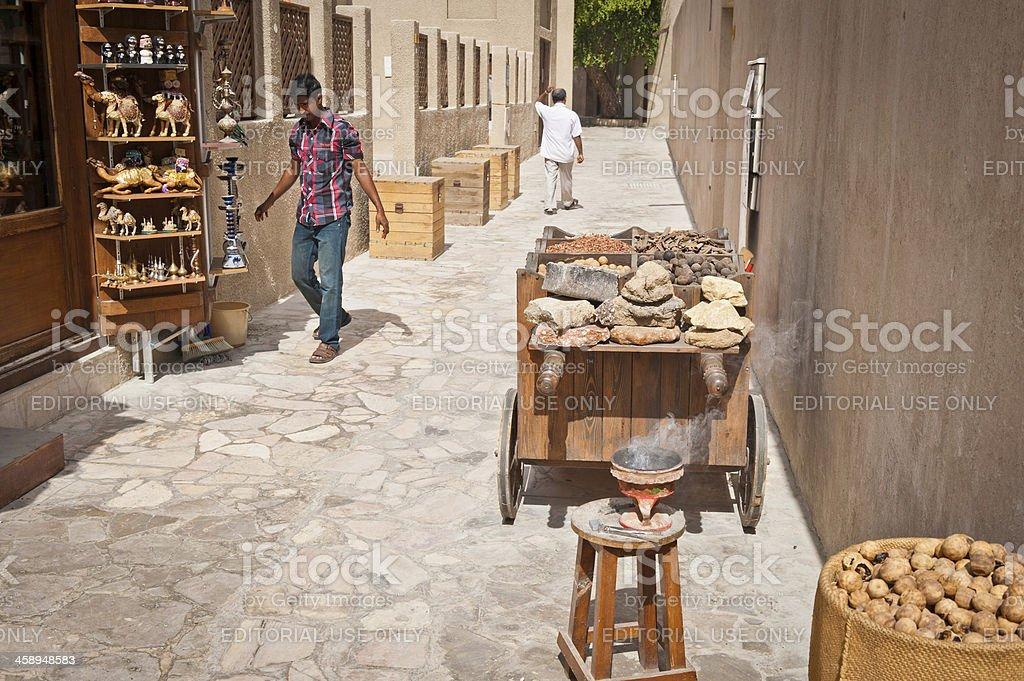 Dubai street stalls Al Bastakiya UAE royalty-free stock photo