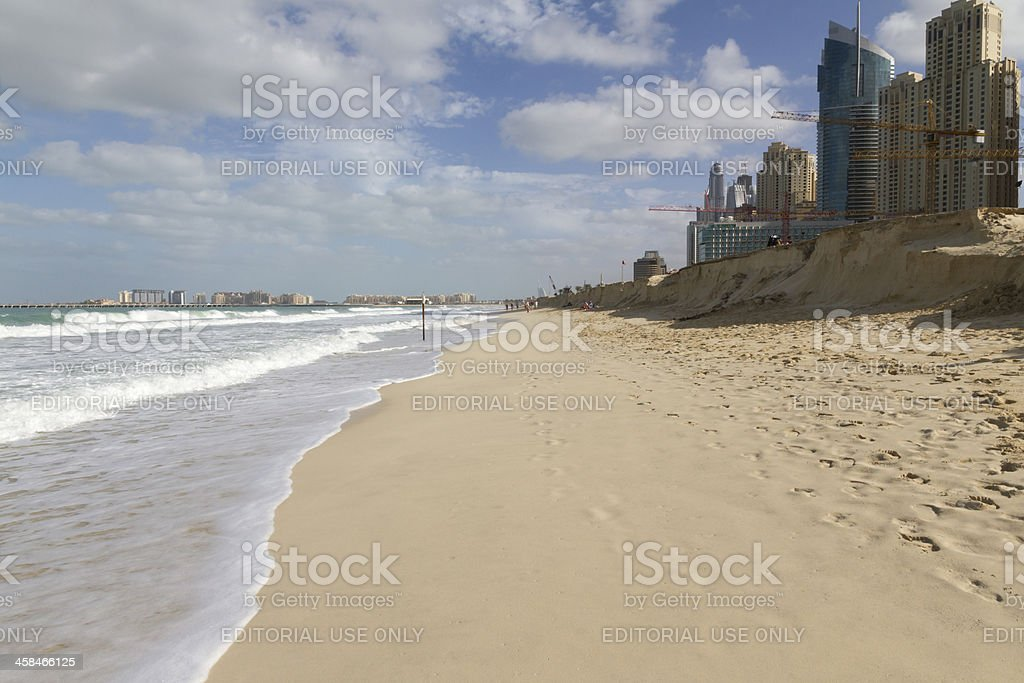 Dubai - The beach of Jumeirah Marina stock photo