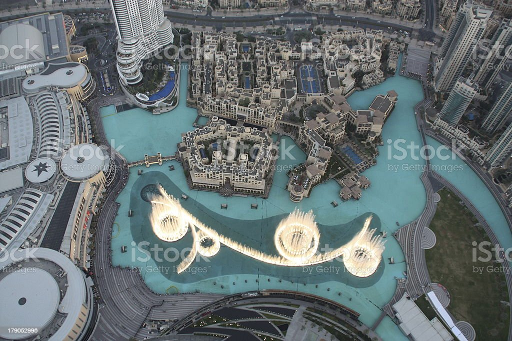Dubai, The fountain view from Burj Khalifa royalty-free stock photo